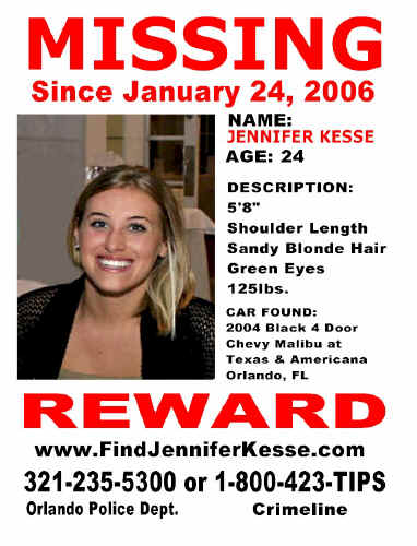A red font with a reward poster for information on Ms Kesse's disappearance. A colour photograph of her is also depicted. A blonde woman smiling into the camera.