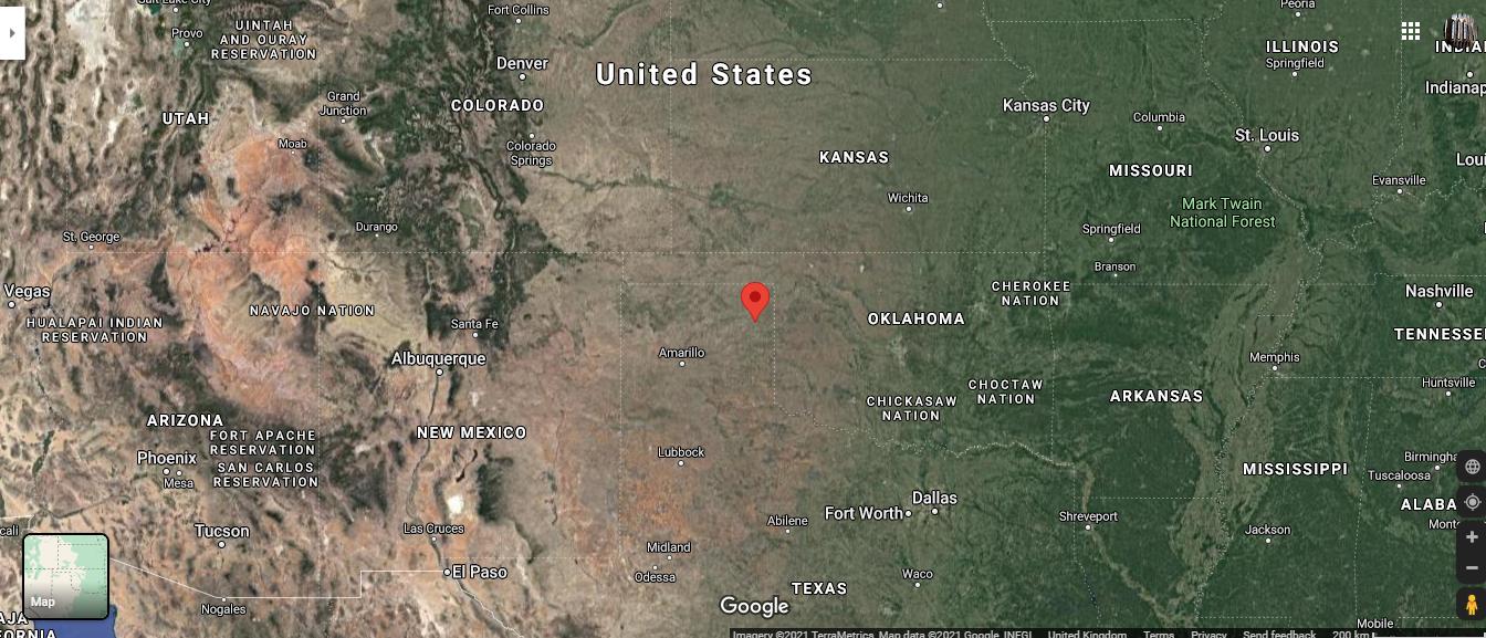 google map screenshot of area showing canadian, Texas.